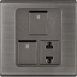 CLOPAL SWITCHES STEEL INSPIRE TWO SWITCHES+ ONE SOCKETS