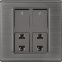 CLOPAL SWITCHES STEEL INSPIRE TWO SWITCHES+ TWO SOCKETS
