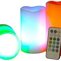 LUMA Real Wax LED Color Changing Candle With Remote Control And Timer, Set Of 3 - Vanilla Scent
